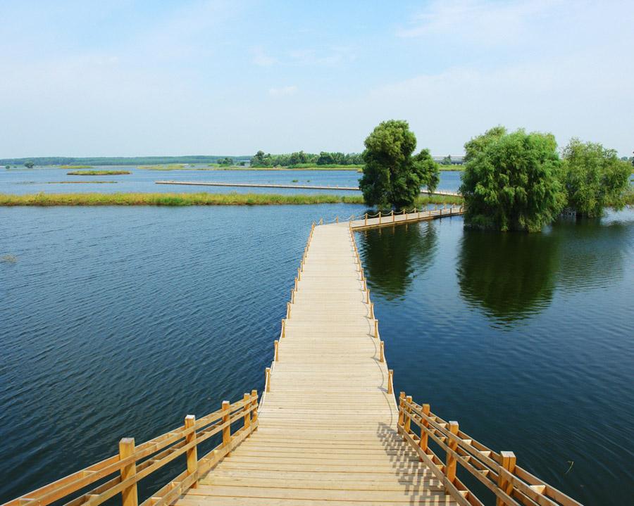"""辽河自古以来就是辽宁人的母亲河,它也是中国七大河流之一。地理位置优越、自然风光优美,岸边滩地错落,拥有水岛相映、绿树成荫、芦苇丛生、自然优雅的怡人湿地景观。为把辽河沈北新区段建设成一条真正环境优美、风光宜人的生态带、旅游带、城镇带,从而达到防风固土、改善水质、美化环境、恢复生态的目的,沈北新区抓住辽河生态保护区建设契机,投巨资兴建全国市区最大的湿地公园辽河七星湿地公园 辽河七星湿地公园位于沈北新区西北部,跨黄家、石佛两个街道,占地13000亩,总投资2亿元。通过建设""""滩地、岸边、水面"""
