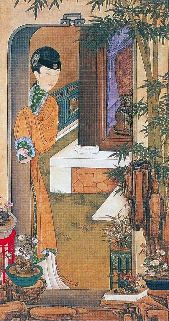 手绘古代美人薄纱